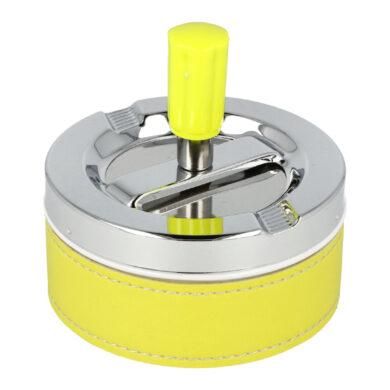 Cigaretový popelník otočný Neon žlutý, kovový(22309)