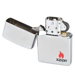 Zapalovač Zippo Logo Flame, satin(Z 201990)