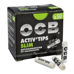 Cigaretové filtry OCB Activ Tips Slim 7mm, charcoal-Cigaretové filtry OCB Activ Tips Slim s aktivním uhlím a keramickým oboustranným zakončením. Filtry snižují množství přijímaného dehtu, neovlivňují chuť a dopřejí Vám suché a chladné kouření. Průměr filtru 7mm, délka 27mm. Cena uvedena za 1 balení (50 ks filtrů).