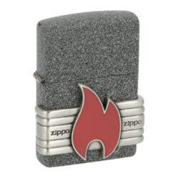 Zapalovač Zippo Iron Stone, matný-Benzínový zapalovač Zippo Iron Stone 60004309. Kvalitní zapalovač Zippo v matném provedení s povrchem imitující kamen je na přední straně zdobený výrazným 3D logem Zippo. Zapalovač je dodávaný v originální krabičce s logem. Zapalovače Zippo nejsou při dodání naplněné benzínem. Správné fungování zapalovače zajistíte originálním příslušenstvím: benzín Zippo 3141 Fluid, kamínky Zippo Flint, knoty Zippo Wick a vata do zapalovače Zippo.