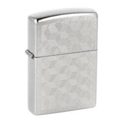 Zapalovač Zippo 3D Cubes, broušený-Benzínový zapalovač Zippo 3D Cubes 60000373. Kvalitní zapalovač Zippo v chromovém šikmo broušeném provedení má přední stranou zdobenou gravírovaným motivem 3D krychliček. Boční strany zapalovače jsou jemně patinované. Zapalovač je dodávaný v originální krabičce s logem. Zapalovače Zippo nejsou při dodání naplněné benzínem. Originální příslušenství benzín Zippo, kamínky, knoty a vata do zapalovače Zippo, zajistí správné fungování benzínové zapalovače. Na mechanické závady zapalovače poskytuje Zippo doživotní záruku. Tuto záruku můžete uplatnit přímo u nás. Zapalovače jsou vyrobené v USA, Original Zippo® Bradford.