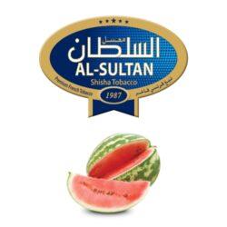 Tabák do vodní dýmky Al-Sultan Watermelon (83), 50g/F-Tabák do vodní dýmky Al-Sultan Watermelon s příchutí melounu. Tabáky Al-Sultan vyráběné v Jordánsku jsou známé svojí šťavnatostí, skvělou vůní, chutí a bohatým dýmem. Tabák do vodní dýmky je dodávaný v papírové krabičce po 50g.