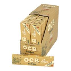 Cigaretové papírky OCB Slim Bamboo+Filters-Cigaretové papírky OCB Slim Bamboo+Filters. Dlouhé papírky jsou vyrobené ze zodpovědně pěstovaného 100% bambusu. Pomalu hořící cigaretové papírky Slim Bamboo+Filters s akátovým lepidlem nejsou bělené. Neobsahují GMO, barviva a chlór. Knížečka obsahuje 32 papírků a 32 papírových filtrů. Rozměry papírku: 44x109mm. Prodej pouze po celém balení (displej) 32ks. Cena je uvedená za 1ks.