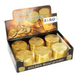 Drtič tabáku kovový Golden, 51mm, 4.díl.(07012)