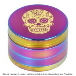 Drtič tabáku kovový Rainbow Skull, 51mm, 4.díl.(07061)
