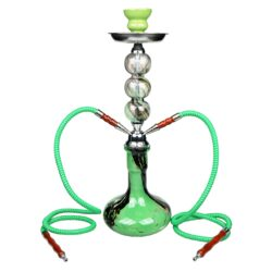 Vodní dýmka Gizeh 52cm zelená-Vodní dýmka Gizeh. Střední vodní dýmka vysoká 52cm má dva šlauchy. Barva vodní dýmky zelená. Vodní dýmka je dodávána s příslušenstvím.