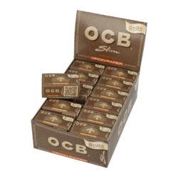 Cigaretové papírky OCB Rolls Virgin Slim-Cigaretové papírky OCB Rolls Slim Virgin. Délka 4m, šířka 44mm. Papírky jsou vyrobené z ultratenkého neběleného papíru s přirozenou hnědou barvou. Prodej pouze po celém balení (displej) 24ks. Cena je uvedená za 1ks.