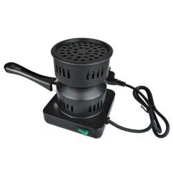 Elektrický žhavič na uhlíky do vodní dýmky CHAMP-Kvalitní elektrický žhavič na uhlíky do vodní dýmky. Žhavič na uhlíky je praktický pomocník pro kuřáky vodní dýmky. Po vložení kokosových uhlíků na perforovanou plotýnku a stisknutí tlačítka, jsou uhlíky během pár minut rozžhavené a připravené k použití. Žhavič je určen pro rozžhavení kokosových uhlíků, ne rychlozápalných. Na plotýnku o průměru 11 cm se vejde cca 3-4 ks uhlíků. Žhavič je vybavený tepelnou pojistkou. Rozměry: 18x14x14cm.