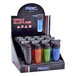 Tryskový zapalovač Prof Torch transparent-Tryskový zapalovač vhodný nejen k zapalování doutníků. Výborný též k zapálení uhlíků do vodní dýmky, krbů nebo grilů. Zapalovač je plnitelný a má pojistku proti zapálení. Výška zapalovače: 10,5cm. Cena je uvedena za 1 ks. Před odesláním objednávky uveďte číslo barevného provedení do poznámky.