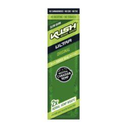 Blunt Kush Ultra Original, 2x-Blunt Kush Ultra je vyráběn ze syntetického kanadského konopí. Tento konopný blunt neobsahuje žádné CBD, THC a jiné kanabinoidy. Konopný list je velmi tenký a ubalená cigareta dobře drží svůj tvar, i když blunt neobsahuje žádné lepidlo. Blunty jsou baleny do uzavíratelného sáčku, takže po otevření neztratí svoji příchuť. Sáček obsahuje 2 ks. Příchuť: bez příchutě.